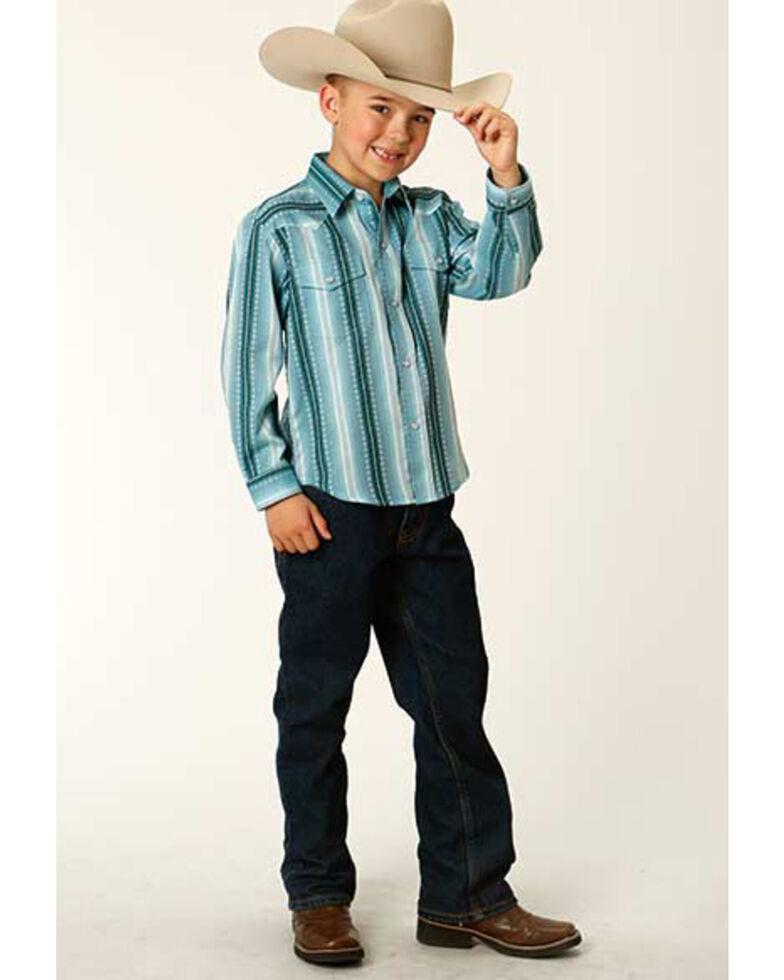 Roper Boys' Aqua Ombre Dobby Stripe Long Sleeve Snap Western Shirt , Blue, hi-res