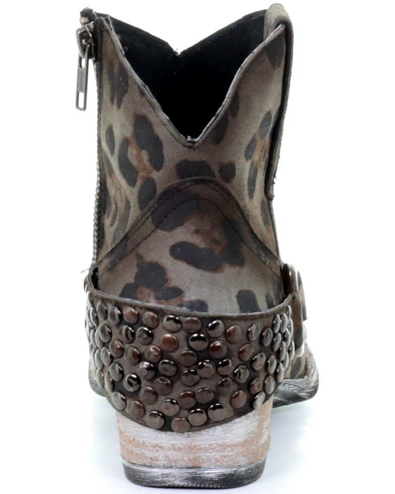 Circle G Women's Sage Studded Leopard Print Fashion Booties - Round Toe, Grey, hi-res