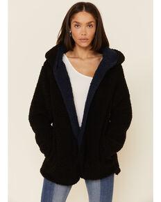 Wishlist Women's Reversible Sherpa Fleece Hooded Open Front Jacket, Black, hi-res