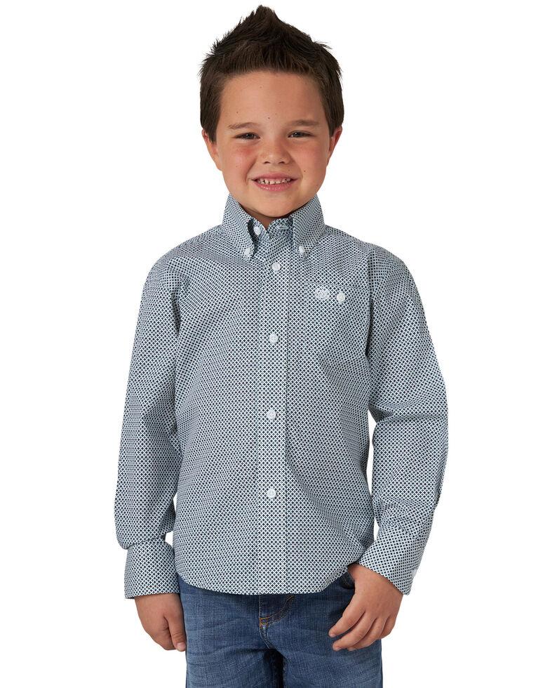 Wrangler Boys' Navy Geo Print Long Sleeve Western Shirt , Navy, hi-res