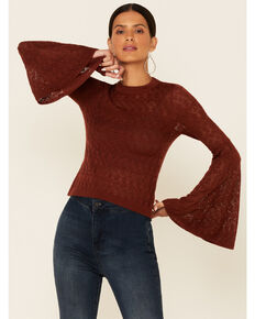 Shyanne Women's Chocolate Bell Sleeve Sweater , Chocolate, hi-res