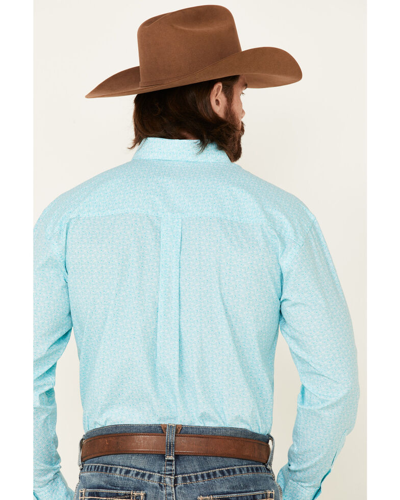 George Strait By Wrangler Men's White Geo Print Long Sleeve Button-Down Western Shirt - Big, White, hi-res