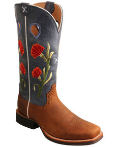 Twisted X Women's Floral Ruff Stock Western Boots - Square Toe, Brown, hi-res