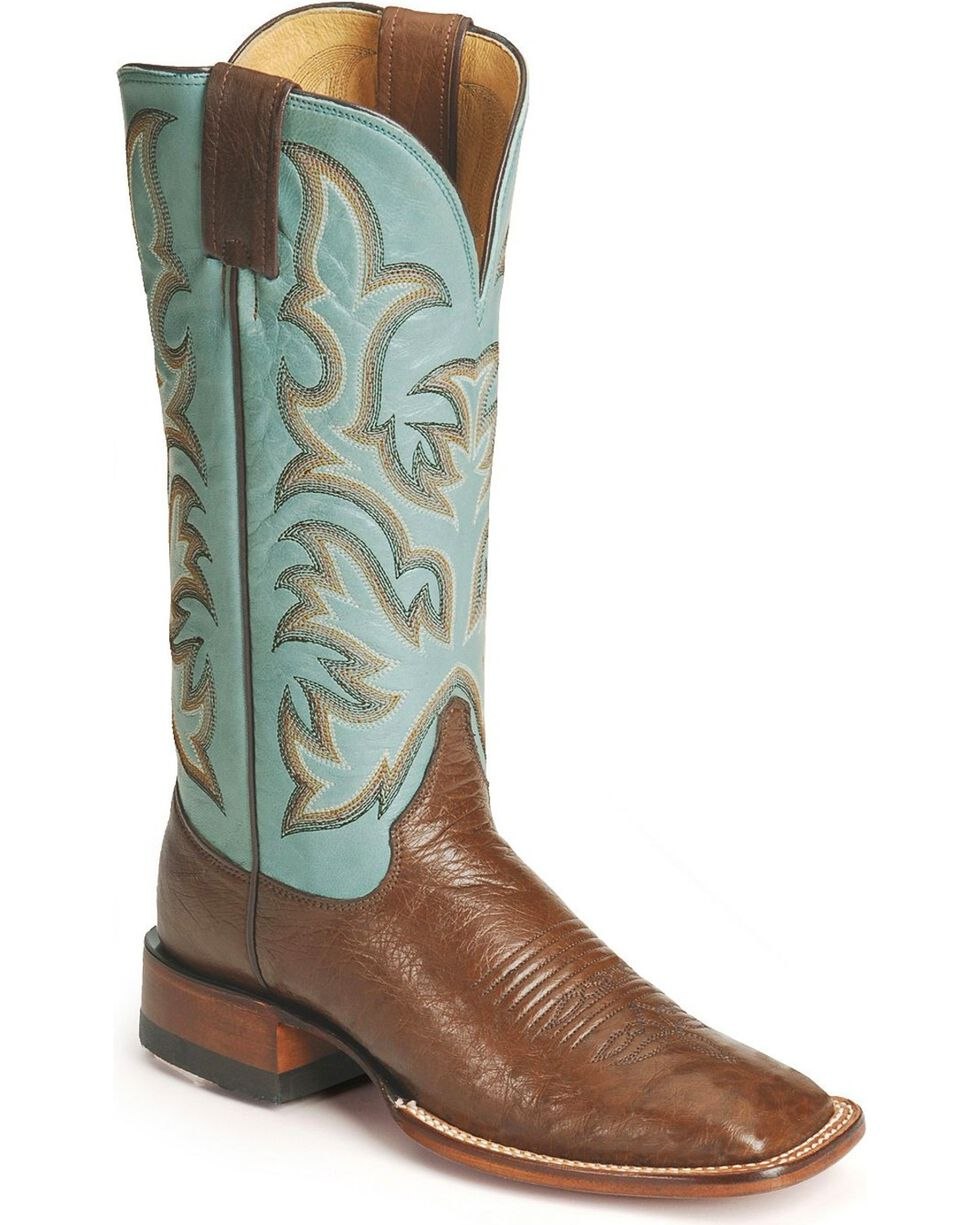 "Justin Women's 13"" Marfa Smooth Ostrich Cowgirl Boots - Square Toe, Antique Brown, hi-res"
