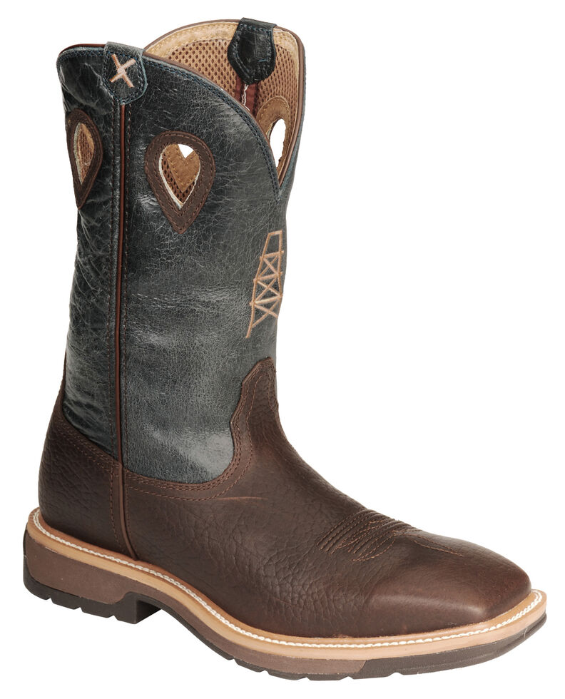 Twisted X Men's Pull-On Cowboy Work Boots - Steel Toe, Cognac, hi-res