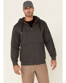 Hawx Men's Charcoal Martin Insulated Zip Front Hooded Work Jacket, Charcoal, hi-res