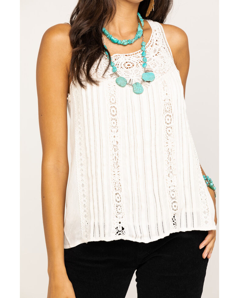 Miss Me Women's White Crochet Pleated Tank Top, Ivory, hi-res