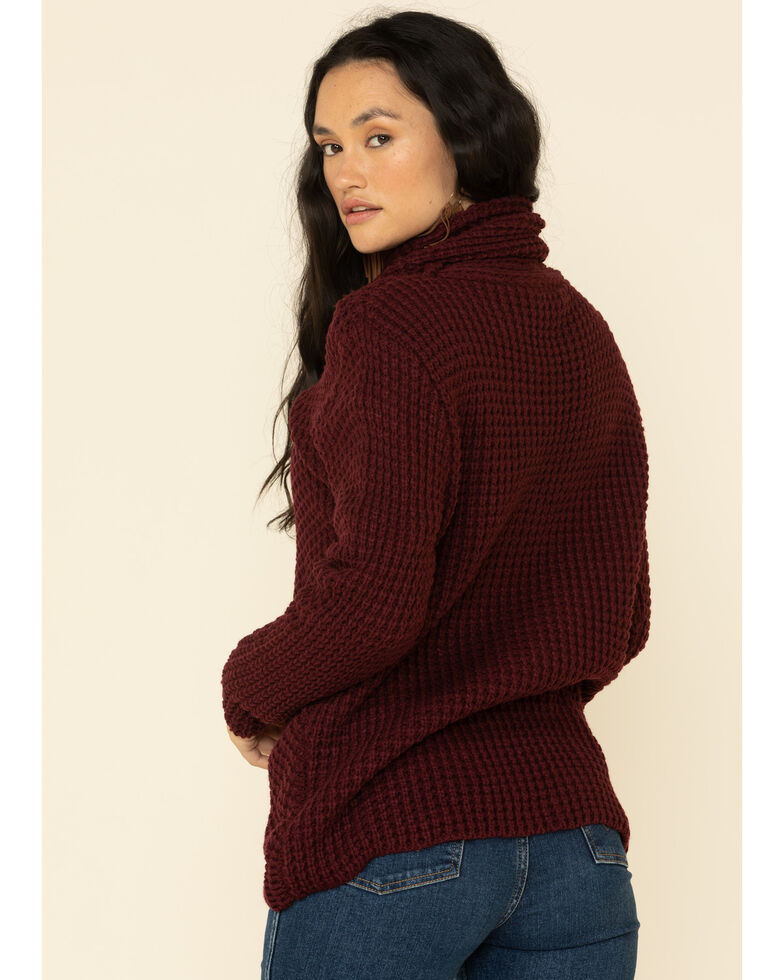 Panhandle Women's Burgundy Waffle Knit Crossover Cowl Sweater , Burgundy, hi-res