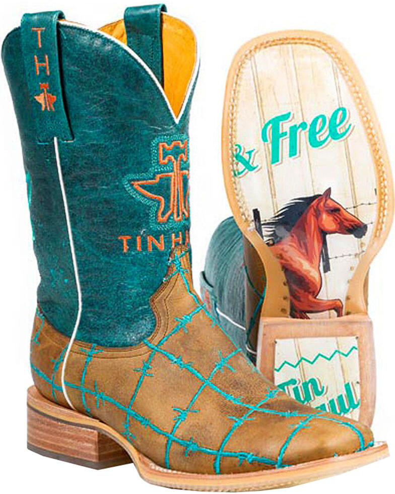 Tin Haul Women's Wild and Free Cowgirl Boots - Square Toe, Tan, hi-res