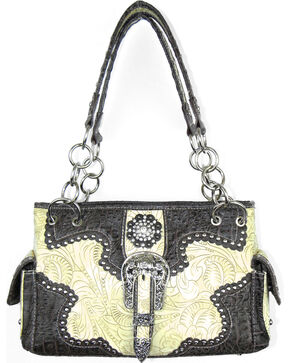 Savana Women's Concealed Carry with Tooled Design Handbag, Ivory, hi-res