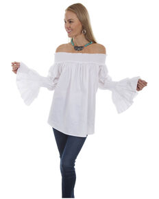 Scully Women's Smocked Neck Off Shoulder Long Sleeve Blouse , White, hi-res