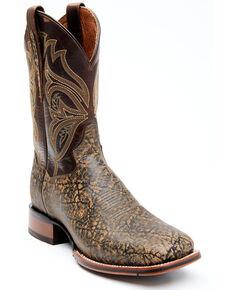 Dan Post Men's Elephant Print Western Boots - Wide Square Toe, Cognac, hi-res