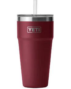 Yeti Rambler 26oz Harvest Straw Cup, Red, hi-res