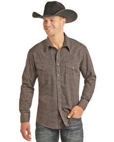 Rock & Roll Cowboy Men's Burgundy Geo Print Long Sleeve Western Shirt , Burgundy, hi-res