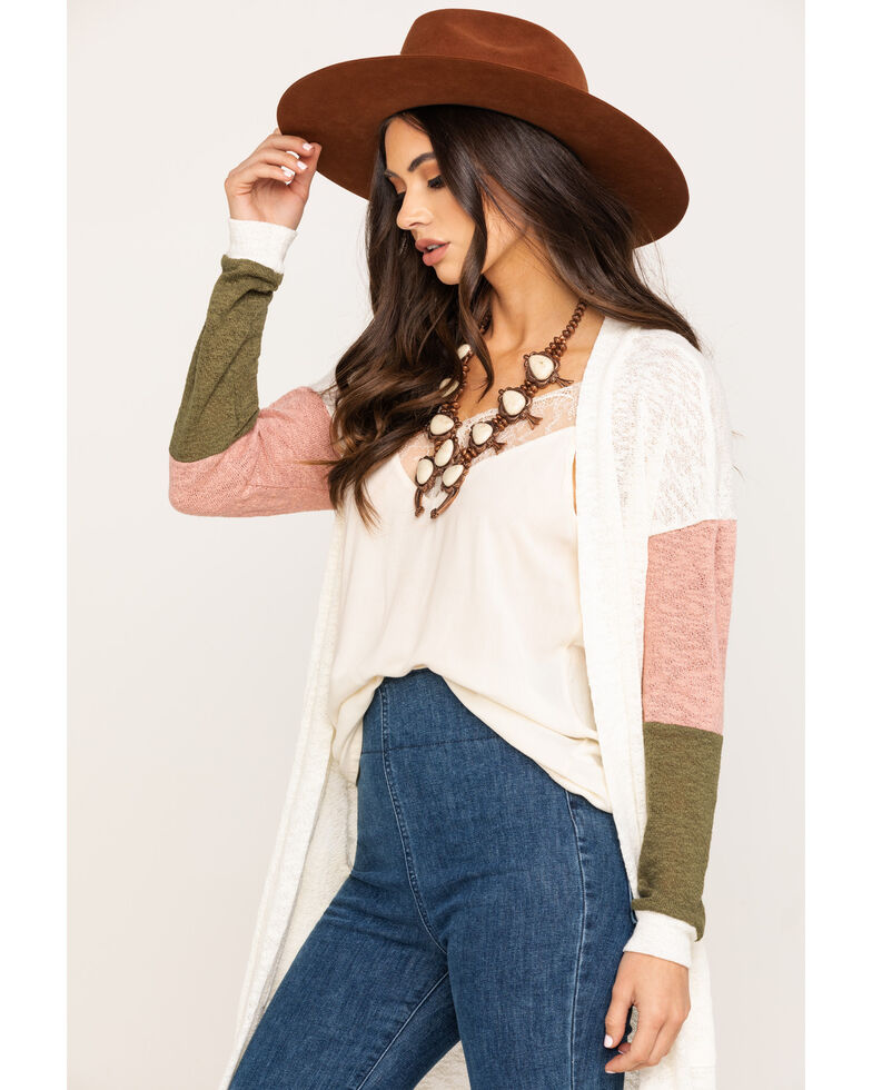 Eyeshadow Women's Color-Block Duster Cardigan, Ivory, hi-res