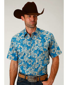 Roper Men's Tropical Plaid Short Sleeve Western Snap Shirt, Blue, hi-res