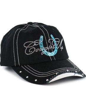 Cowgirl Up Women's Rhinestone Horseshoe Ball Cap , Black/blue, hi-res