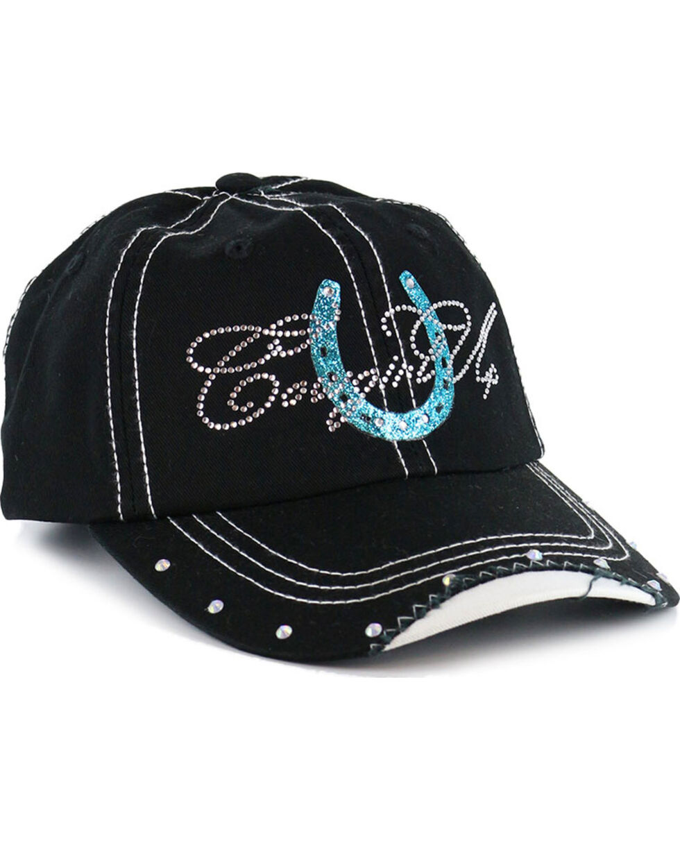 Cowgirl Up Women's Rhinestone Horseshoe Ball Cap , Black/blue, hi-res