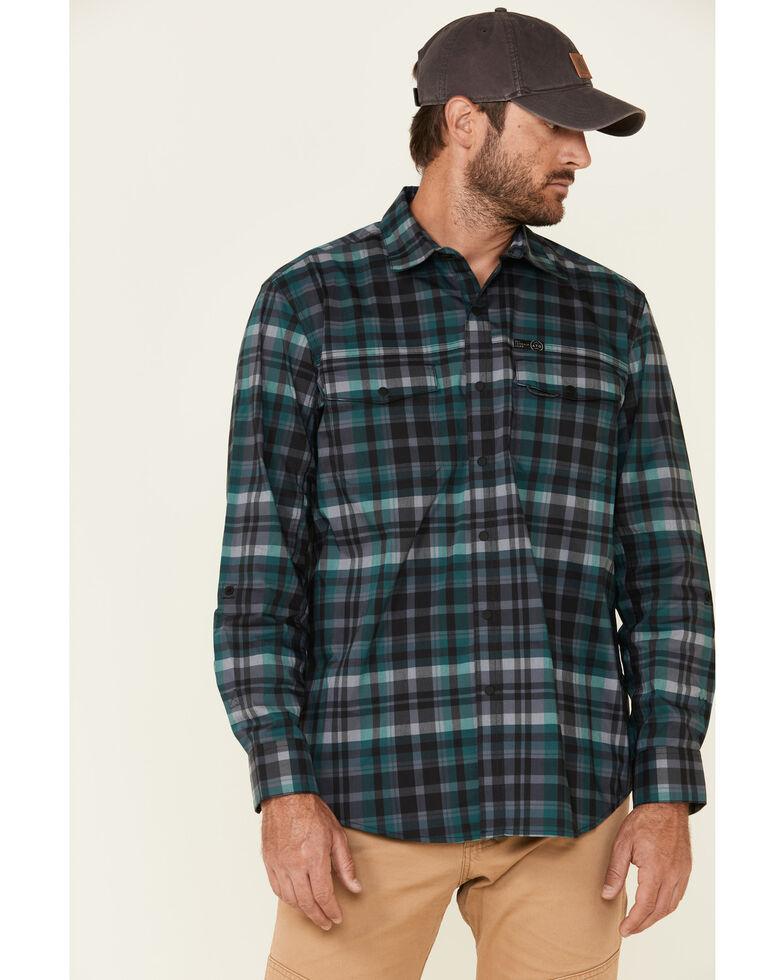 Wrangler All Terrain Men's Dark Green Plaid Pocket Utility Long Sleeve Western Flannel Shirt - Big & Tall, Green, hi-res