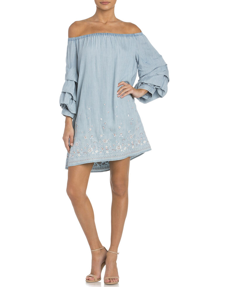 Miss Me Women's Pick Me Off-The-Shoulder Dress , Indigo, hi-res