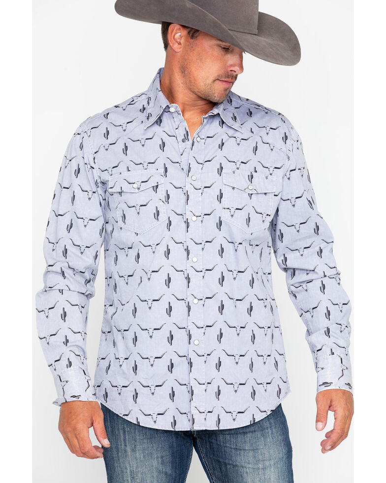 Rock & Roll Denim Men's Longhorn Skull Print Long Sleeve Western Shirt , , hi-res