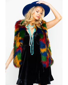 Flying Tomato Women's Multicolored Fur Vest, Multi, hi-res
