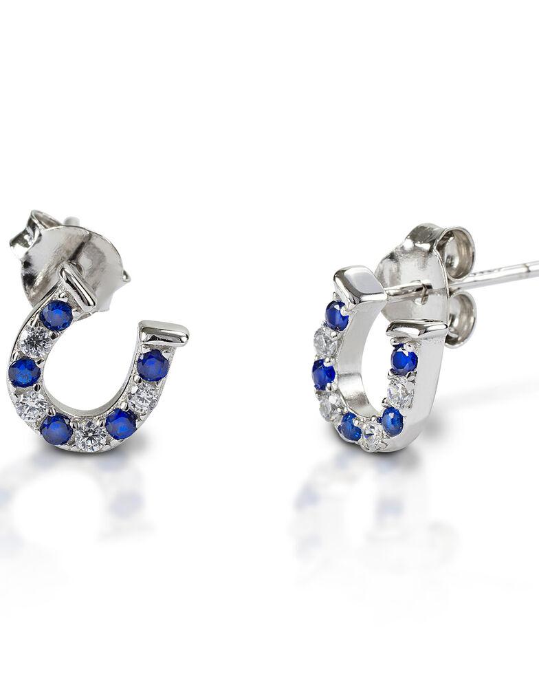 Kelly Herd Women's Blue & Clear Horseshoe Earrings , Silver, hi-res