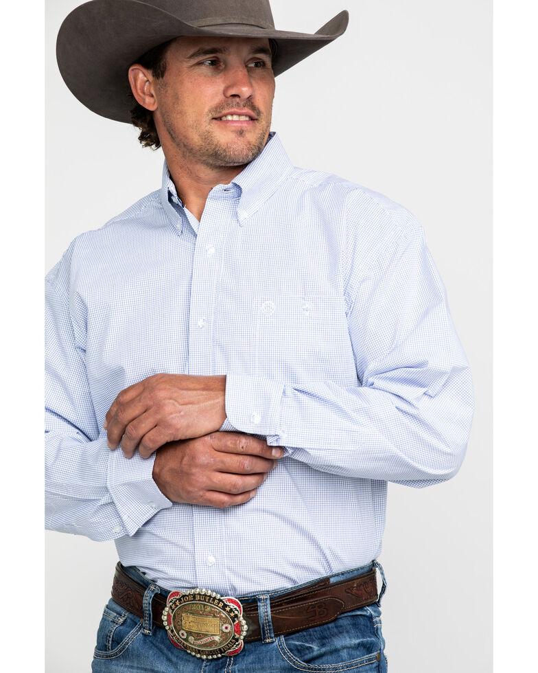 George Strait by Wrangler Men's White Check Plaid Long Sleeve Western Shirt , White, hi-res