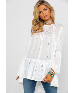 Free People Women's Kiss Kiss Tunic Top , Ivory, hi-res