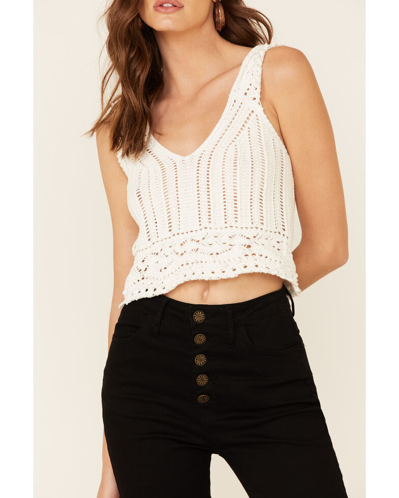 Shyanne Women's White Sweater-Knit Eyelet Crop Tank Top , White, hi-res