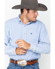 Ariat Men's Dayne Mini Striped Long Sleeve Shirt, Blue, hi-res