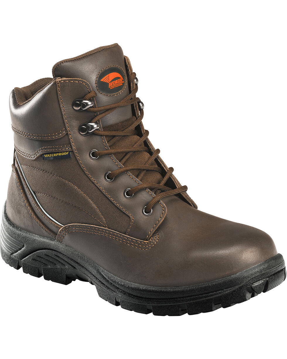 "Avenger Men's Waterproof 8"" Lace-Up Work Boots - Composite Toe, Brown, hi-res"