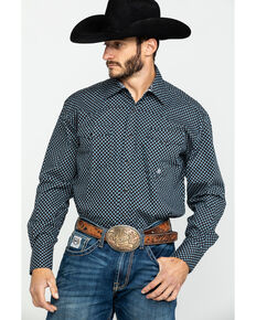 Roper Men's Black Amarillo North Foulard Geo Print Long Sleeve Western Shirt , Black, hi-res