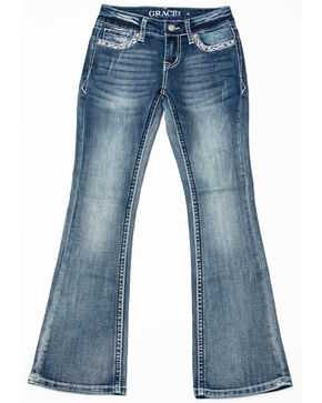 Grace in LA Girls' Cross Pocket Bootcut Jeans, Blue, hi-res