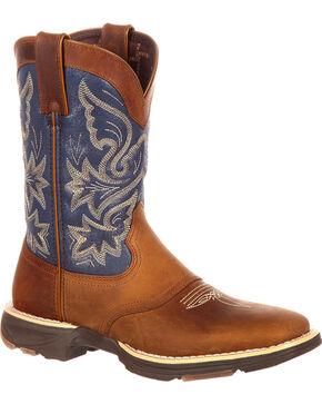 Durango Women's Ultra-Lite Western Work Boots - Square Toe, Brown/blue, hi-res