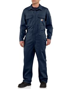 Carhartt Flame Resistant Classic Twill Coveralls, Navy, hi-res