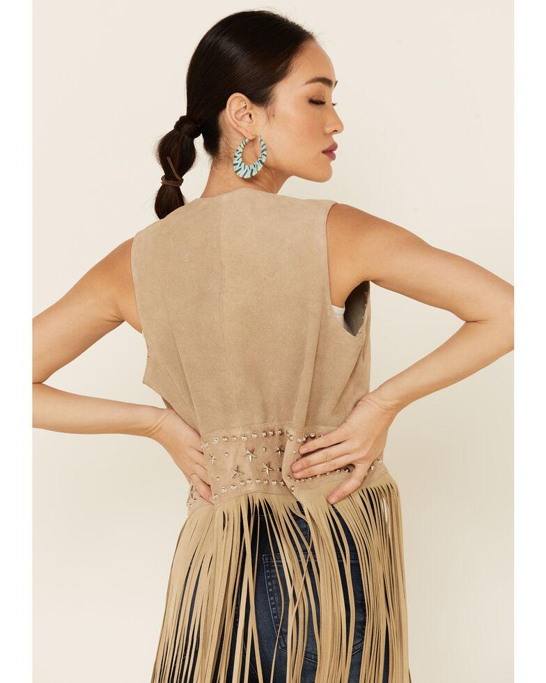 Understated Leather Women's Tan Suede Paris Open-Front Vest , Tan, hi-res