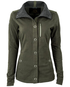 STS Ranchwear Women's Military Green Button Up Jacket , Green, hi-res