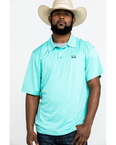 Cinch Men's Heathered Short Sleeve Polo Shirt , Green, hi-res