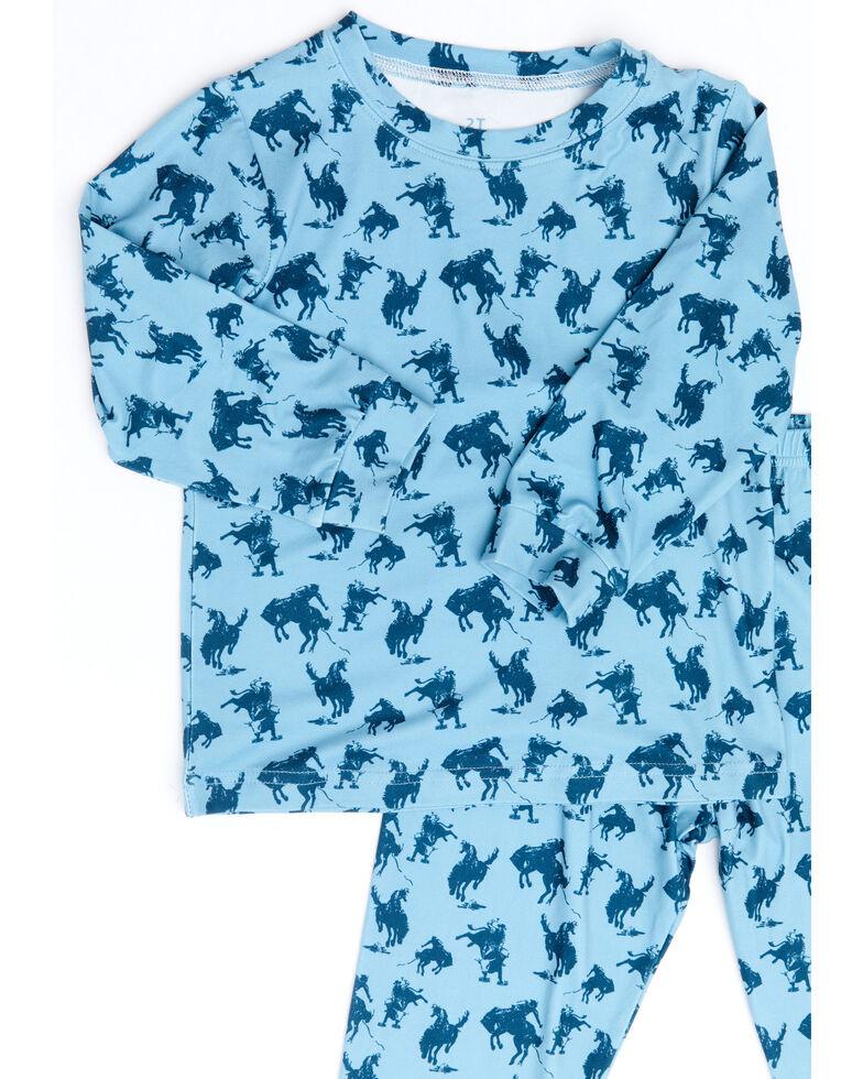Cowboy Hardware Toddler Boys' Blue Bucking Bronco Pajama Set , Blue, hi-res