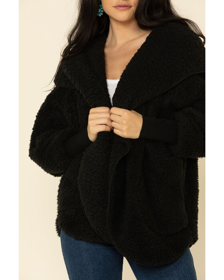 Katydid Women's Drape Front Sherpa Wrapped Hooded Cardigan, , hi-res