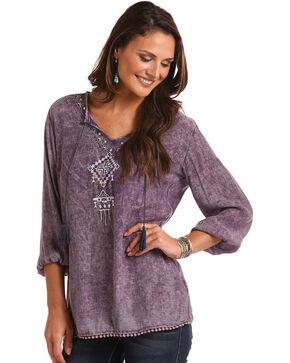 Panhandle Women's Embroidered Tassel Tie Peasant Top, Purple, hi-res