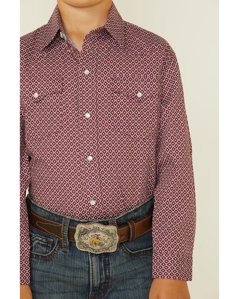 Roper Boys' Aztec Puzzle Geo Print Long Sleeve Snap Western Shirt , Burgundy, hi-res