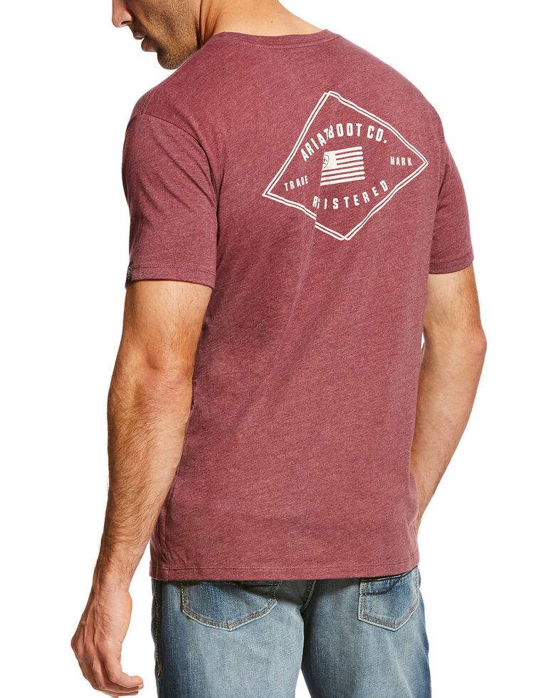 Ariat Men's USA Registered Short Sleeve Tee, Burgundy, hi-res