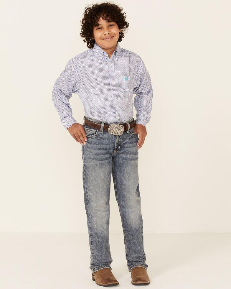 Panhandle Select Boys' Violet Geo Print Long Sleeve Snap Western Shirt , Violet, hi-res