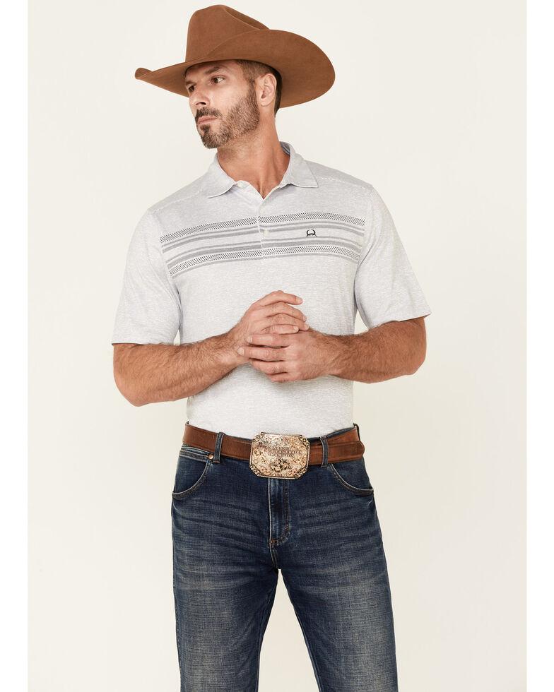 Cinch Men's Arena Flex Grey Stripe Short Sleeve Polo Shirt , Grey, hi-res