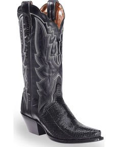 Dan Post Women's Black Water Snake Triad Cowgirl Boots - Snip Toe , Black, hi-res