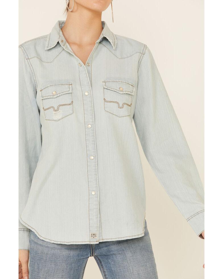 Kimes Ranch Women's Indigo Kaycee Denim Long Sleeve Snap Western Core Shirt , Indigo, hi-res