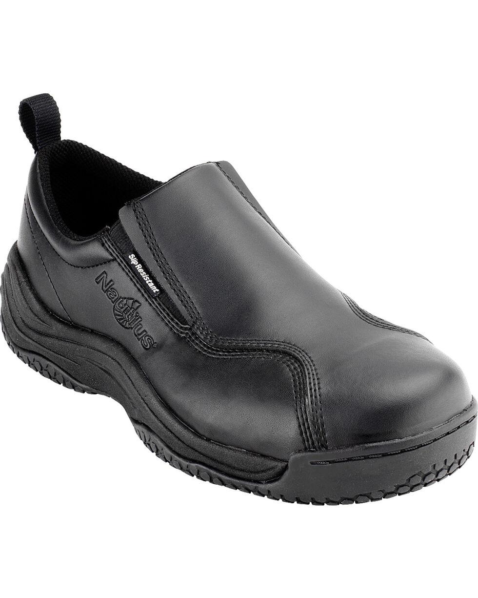 Nautilus Men's Black Ergo Slip-On Work Shoes - Comp Toe , Black, hi-res