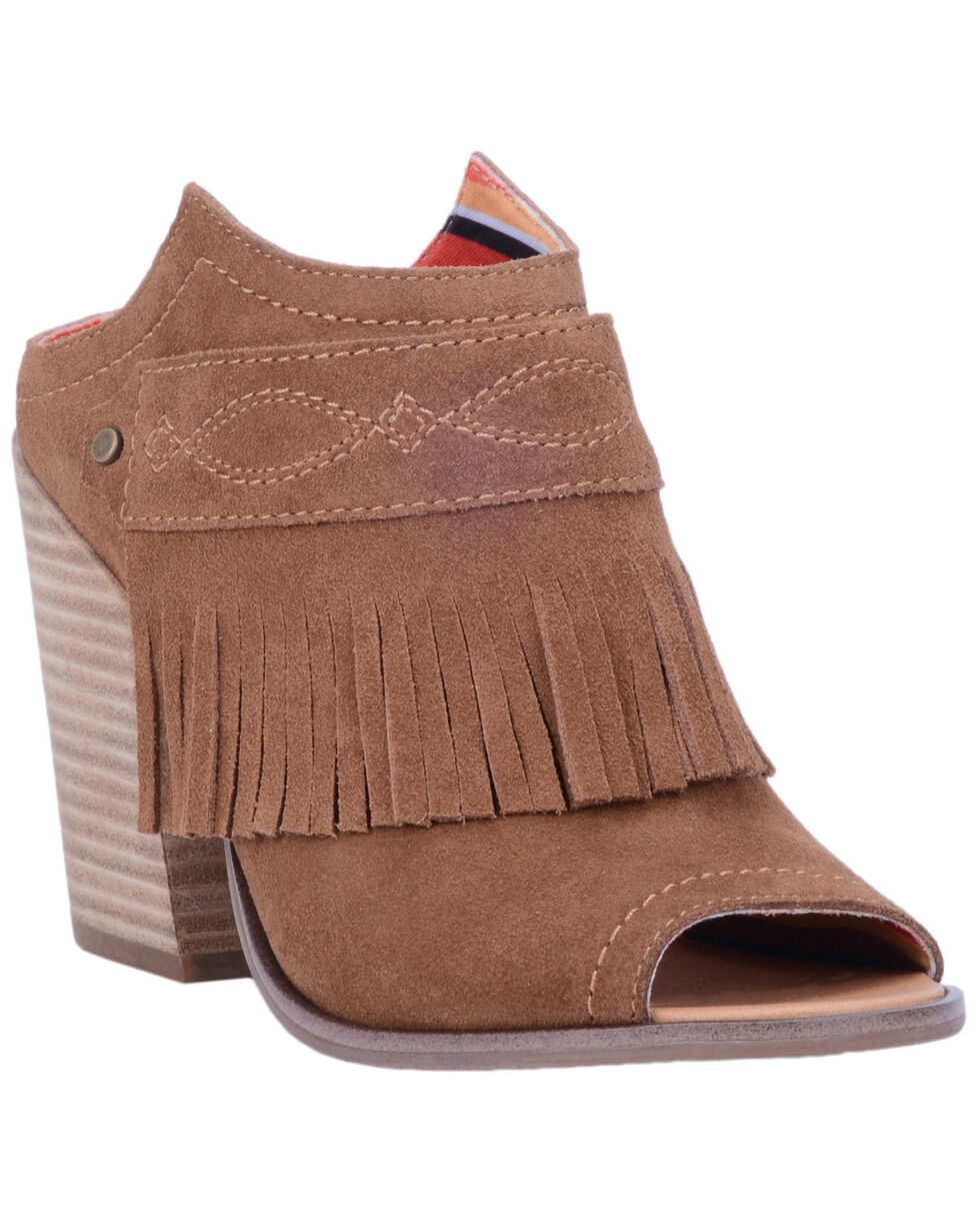 Dingo Women's Shaker Peep Toe Fringe Mules - Open Toe, Wheat, hi-res
